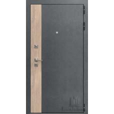 Дверь входная Бруклин, цвет серая штукатурка + дуб европейский красный, панель - бруклин цвет cандал светлый